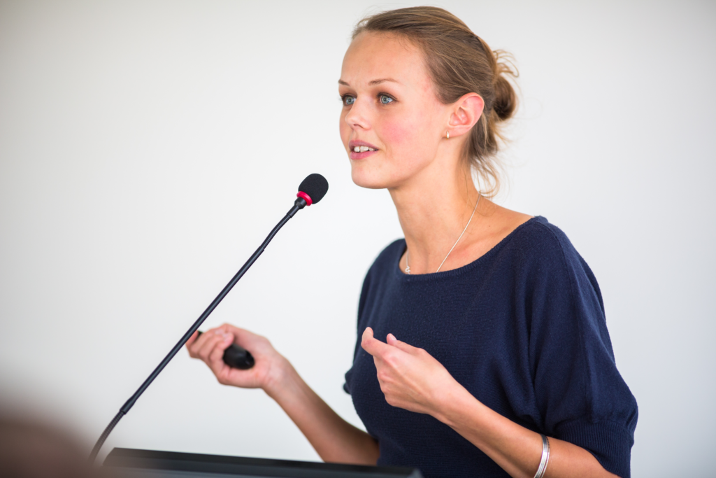 Woman giving trial presentation