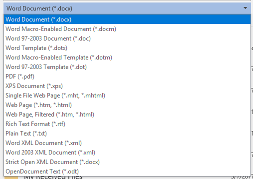 Word File Format Options